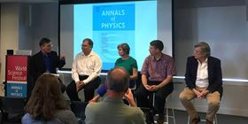 "Science writer John Rennie moderates a panel on ""Big Data and the Future of Physics"" as part of the World Science Festival. Panelists are Dr. Kirk Borne, drs. Anita de Waard, Prof. Michael Hildreth and Prof. Michael Tuts."