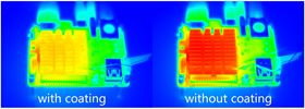 These infrared images show heat sinks with and without the MIL-101(Cr) coating. Image: Chenxi Wang.