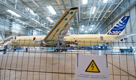 Airbus' second A350 XWB flight test aircraft, MSN3, undertook lightning strike testing at Airbus' Clément Ader facility in Colomiers, France, in April 2013. (Picture © Airbus.)