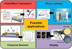 Figure 1 Main topics of Soo Young Kim's research: field-effect transistors [2]; photocatalysts [5]; displays [4]; chemical sensors [J. Mater. Chem. A 4 (2016) 6070].