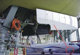 The study was performed on the nose landing gear doors of a Dornier 728 aircraft.