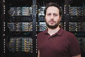 Davide Sangiovanni, a research fellow at Linköping University, in the National Supercomputer Centre in Linköping. Image: Anna Nilsen.