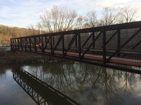 The fiber reinforced plastic (FRP) pedestrian bridge at Cuyahoga Valley National Park.