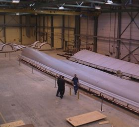 Resin infusion processing is enabling the production of wind turbines at least 60 m long. (Picture courtesy of Vostermans.)