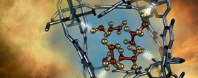 This illustration shows a nitrogen dioxide molecule (depicted in red and gold) confined within a nano-size pore of MFM-300(Al), as characterized using neutron scattering at ORNL. Illustration courtesy of Oak Ridge National Laboratory. Artist: Jill Hemman.