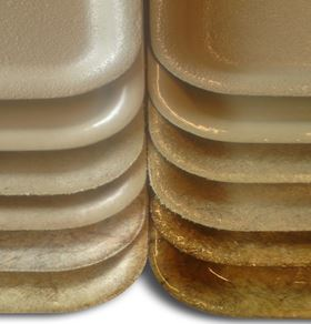 Bio-plastic material variations in trays created for an empirical study.