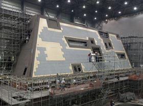 The deckhouse for DDG 1000, the first Zumwalt-class destroyer, is currently under construction at Ingalls Shipbuilding's Composite Center of Excellence in Gulfport, Mississippi.