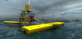 The Wave Treader machine attaches to the transition piece of an offshore wind turbine to generate combined wind and wave energy, thereby significantly increasing the energy yield of the offshore wind farm.