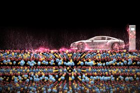 A new study investigating how the atomic structure of lithium-rich battery cathodes evolves during charging and discharging could help to increase the driving range of electric cars. Image: Stanford University/3Dgraphic.