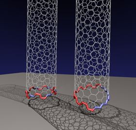 Rice University researchers have determined that an odd, two-faced 'Janus' edge is more common than previously thought for carbon nanotubes growing on a rigid catalyst. The conventional nanotube at left has facets that form a circle, allowing the nanotube to grow straight up from the catalyst. But the researchers discovered the nanotube at right, with a tilted Janus edge that has segregated sections of zigzag and armchair configurations, is far more energetically favored when growing carbon nanotubes via chemical vapor deposition. Image: Evgeni Penev/Rice University.