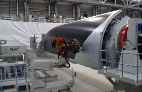 Premium AEROTEC manufactures fuselage panels for the Airbus A350XWB using MAG tape laying machines. Basing the fuselage on joined panels rather than wound barrel sections is said to confer a maintainability advantage since, in the event of major damage, it might theoretically be possible to replace a panel. (Picture © Premium AEROTEC GmbH.)