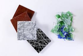 Recycled materials: glass waste ceramics.