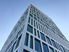 The finished composite façade on the new Eurojust office building in The Hague, Netherlands.