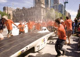 Nuna4 crosses the finish line in first place. (Source: Panasonic World Solar Challenge.)