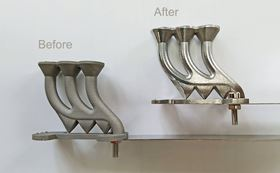 AM parts before and after the coating process.