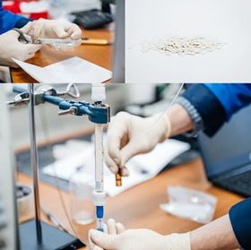 Photos of the actual process: PET bottles are cut into chips, PET chips are partially hydrolyzed and covered with the MOF UiO-66, and the resulting new material can be used to remove insecticides from water.
