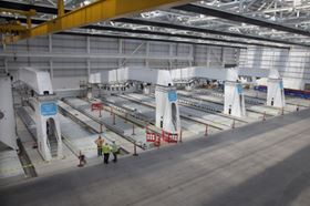 Jigs that will support the assembly of the composite wings for the CSeries aircraft are being installed at Bombardier's new wing facility in Belfast.
