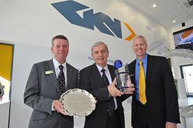 GKN Aerospace presents the Premier supplier award to SC Aerosatar. Pictured left to right are Rob Soen, SVP Supply chain, GKN Aerospace, Grigore Filip, MD, SC Aerostar and Kevin Cummings, CEO, GKN Aerospace.