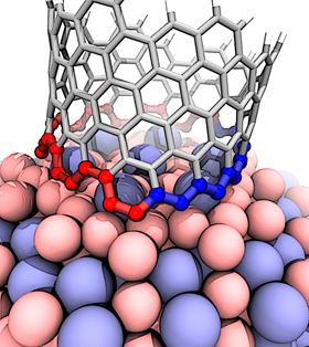 This illustration shows the interface between a growing carbon nanotube and a cobalt-tungsten catalyst. The atomic arrangement of the catalyst forces the nanotube to quickly transition from zigzag (blue) to armchair (red), ultimately growing a nanotube that's neither one nor the other but nearly in the middle. Image: Evgeni Penev/Rice University.