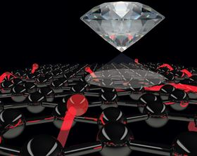 Artist's impression of a diamond quantum sensor. The 'spotlight' represents light passing through the diamond defect and detecting the movement of electrons, which are shown as red spheres trailed by red threads that reveal their path through graphene. Image: David A. Broadway/cqc2t.org.