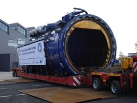 The 90 tonne autoclave being moved into the building.