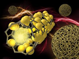 Silicon microspheres have extraordinary mechanical strength due to the addition of carbon nanotubes, which make the spheres resemble balls of yarn. The image on the left illustrates a close-up of a portion of a microsphere made of silicon nanoparticles deposited on carbon nanotubes. Image: Michael Perkins/PNNL.