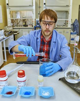 Andrew Binder (pictured) and his colleagues developed their new catalyst by mixing together copper oxide, cobalt oxide and cerium oxide. Image: ORNL.
