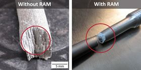 Left: an unmodified 2024 aluminum alloy without RAM addition exhibiting columnar grain growth; right: Elementum 3D's A6061-RAM2 aluminum alloy with RAM addition showing ductal behavior.