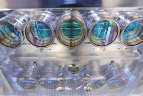 Optical system of a multiscanner LB-PBF system. Corresponding systems are to be monitored as part of the project. (Photo courtesy Fraunhofer ILT.)