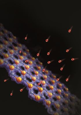 Artistic impression of Pt-nanoparticle decorated graphene membrane (Credit: Guoyan Wang, Yan Liang, and Rongting Zhou).