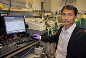 Kui Tan, a research scientist at The University of Texas at Dallas, has shown how a molecular cap can trap potentially harmful emissions within MOFs. Photo: University of Texas at Dallas.