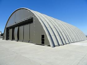 The composite hangars can be customised according to the client's requirements and are quick and easy to install.