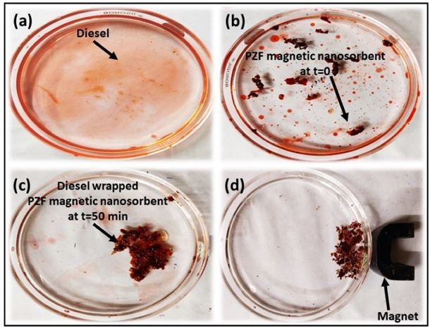 Small scale demonstration of the effectiveness and retrieval of the magnetic nanosorbent