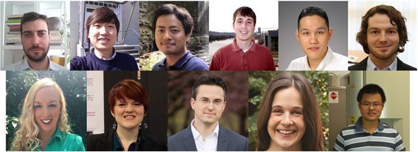 Top row (left to right): Dr. Riccardo Casati; Dr. In-Chul Choi; Dr. Jun Ding; Mr. Denver Faulk; Mr. Heemin Kang; Mr. Philipp Krooß. Bottom row (left to right): Dr. Brittany R. Muntifering; Dr. Kelsey A. Potter-Baker; Dr. Spencer E. Szczesny; Ms. Jana Šmilauerová; Mr. Dalong Zhang.