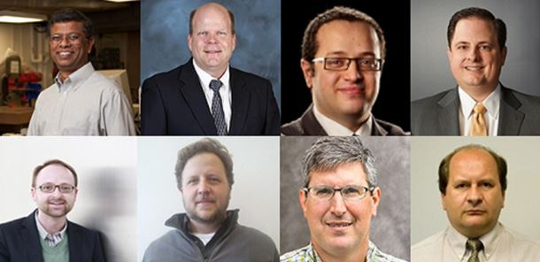Top, left to right: Prof. Sudarsanam Suresh Babu, Dr. Lonnie Love, Prof. Moataz Attallah, Rob Gorham. Bottom, left to right: Dr. Eric Jägle, Prof. Eric MacDonald, Prof. Todd Palmer, Prof. Andrzej Wojcieszynski.