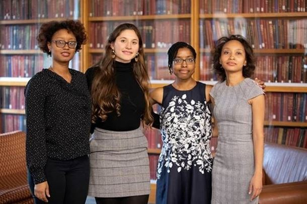 The picture includes (Lavontria Aaron - Graduate Student at John Hopkins University , Juliana Garcia-Mejia - Graduate student at Harvard University, Jamila Pagues - Graduate Student at Harvard University, LaNell Williams- Graduate Student at Harvard University).