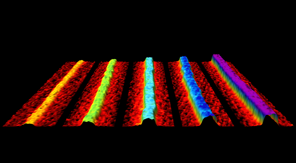 High-speed atomic force microscopy topography maps of the 1 to 5 layer thick sections of 2D phosphorene nanoribbons. Each layer is a little over 0.5 nanometers in thickness. (Credit: Oliver Payton)