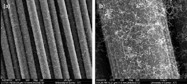 Low temperature growth of carbon nanotubes on carbon fibre to create a highly networked fuzzy fibre reinforced composite with superior electrical conductivity