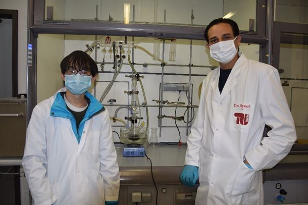 Maged Bekheet (right) with lead author Jun Wang beside the simple experimental apparatus used to produce the metal-ceramic nanocomposites. Photo by Haotian Yang (2020)